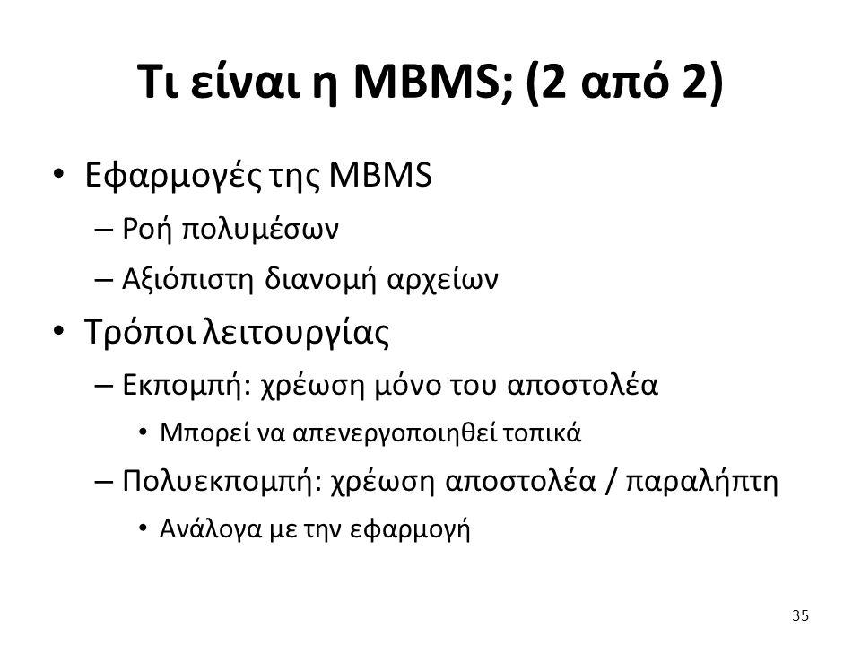 Τι είναι η MBMS; (2 από 2) Εφαρμογές της MBMS – Ροή πολυμέσων – Αξιόπιστη διανομή αρχείων Τρόποι λειτουργίας – Εκπομπή: χρέωση μόνο του αποστολέα Μπορ