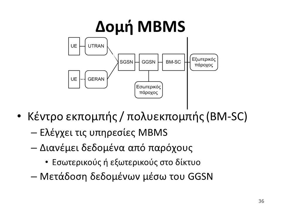 Δομή MBMS Κέντρο εκπομπής / πολυεκπομπής (BM-SC) – Ελέγχει τις υπηρεσίες MBMS – Διανέμει δεδομένα από παρόχους Εσωτερικούς ή εξωτερικούς στο δίκτυο –