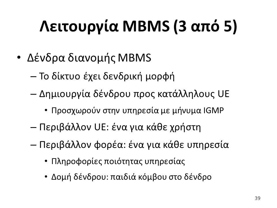 Λειτουργία MBMS (3 από 5) Δένδρα διανομής MBMS – Το δίκτυο έχει δενδρική μορφή – Δημιουργία δένδρου προς κατάλληλους UE Προσχωρούν στην υπηρεσία με μή