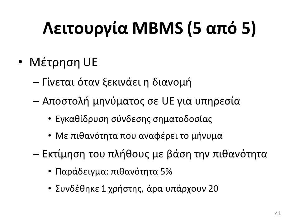 Λειτουργία MBMS (5 από 5) Μέτρηση UE – Γίνεται όταν ξεκινάει η διανομή – Αποστολή μηνύματος σε UE για υπηρεσία Εγκαθίδρυση σύνδεσης σηματοδοσίας Με πι