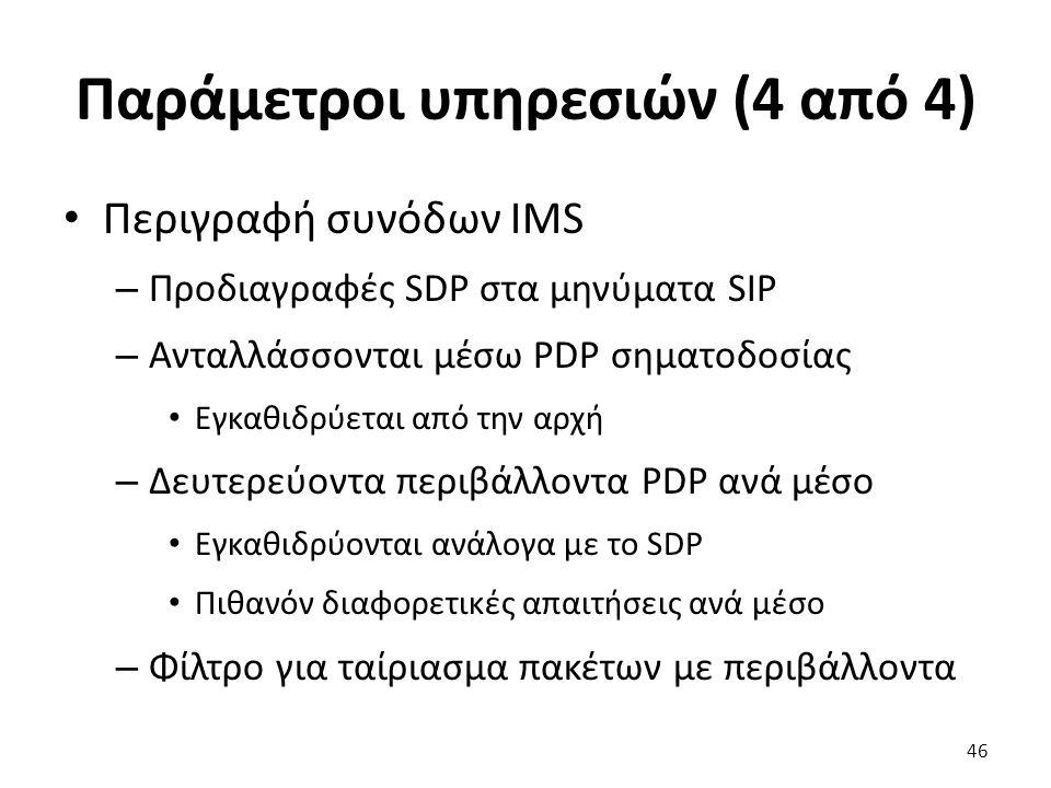 Παράμετροι υπηρεσιών (4 από 4) Περιγραφή συνόδων IMS – Προδιαγραφές SDP στα μηνύματα SIP – Ανταλλάσσονται μέσω PDP σηματοδοσίας Εγκαθιδρύεται από την