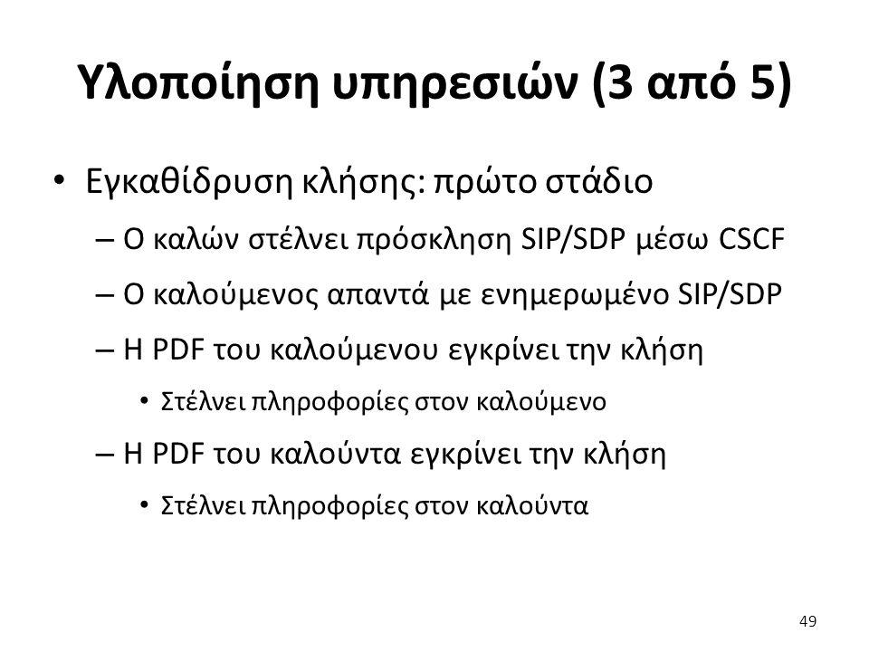 Υλοποίηση υπηρεσιών (3 από 5) Εγκαθίδρυση κλήσης: πρώτο στάδιο – Ο καλών στέλνει πρόσκληση SIP/SDP μέσω CSCF – Ο καλούμενος απαντά με ενημερωμένο SIP/