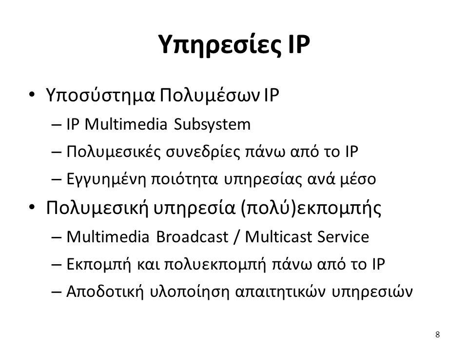 Δομή του IMS (4 από 4) Διαλειτουργικότητα – Πύλη μέσων (MGW) – Λειτουργία ελέγχου πύλης μέσων (MGCF) – Πύλη σηματοδοσίας (SGW) – Λειτουργία ελέγχου πύλης εξόδου (BGCF) Σηματοδοσία πάνω από SIP – Τα μηνύματα περιέχουν προδιαγραφές SDP Μετάδοση δεδομένων πάνω από RTP/UDP/IP 29