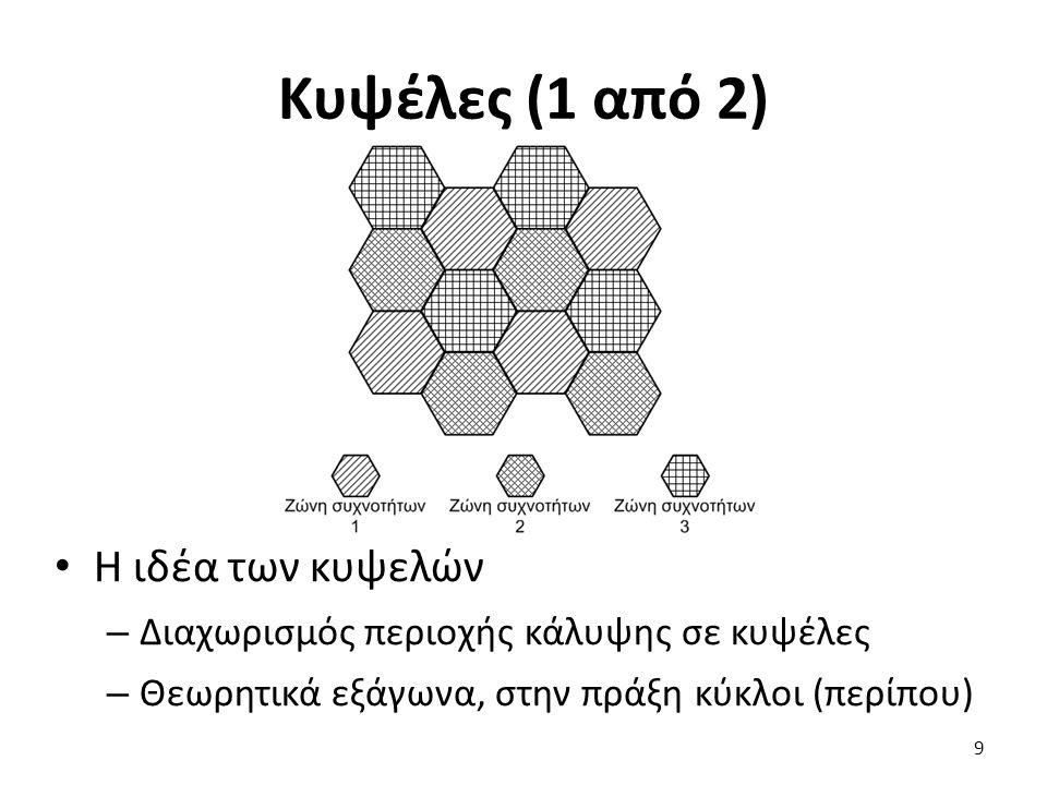 Κυψέλες (1 από 2) Η ιδέα των κυψελών – Διαχωρισμός περιοχής κάλυψης σε κυψέλες – Θεωρητικά εξάγωνα, στην πράξη κύκλοι (περίπου) 9