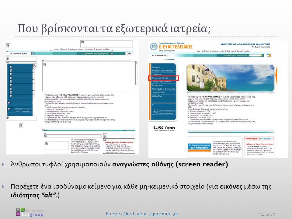 Που βρίσκονται τα εξωτερικά ιατρεία ; http://hci.ece.upatras.gr 14 of 20  Άνθρωποι τυφλοί χρησιμοποιούν αναγνώστες οθόνης (screen reader)  Παρέχετε ένα ισοδύναμο κείμενο για κάθε μη - κειμενικό στοιχείο ( για εικόνες μέσω της ιδιότητας alt .)
