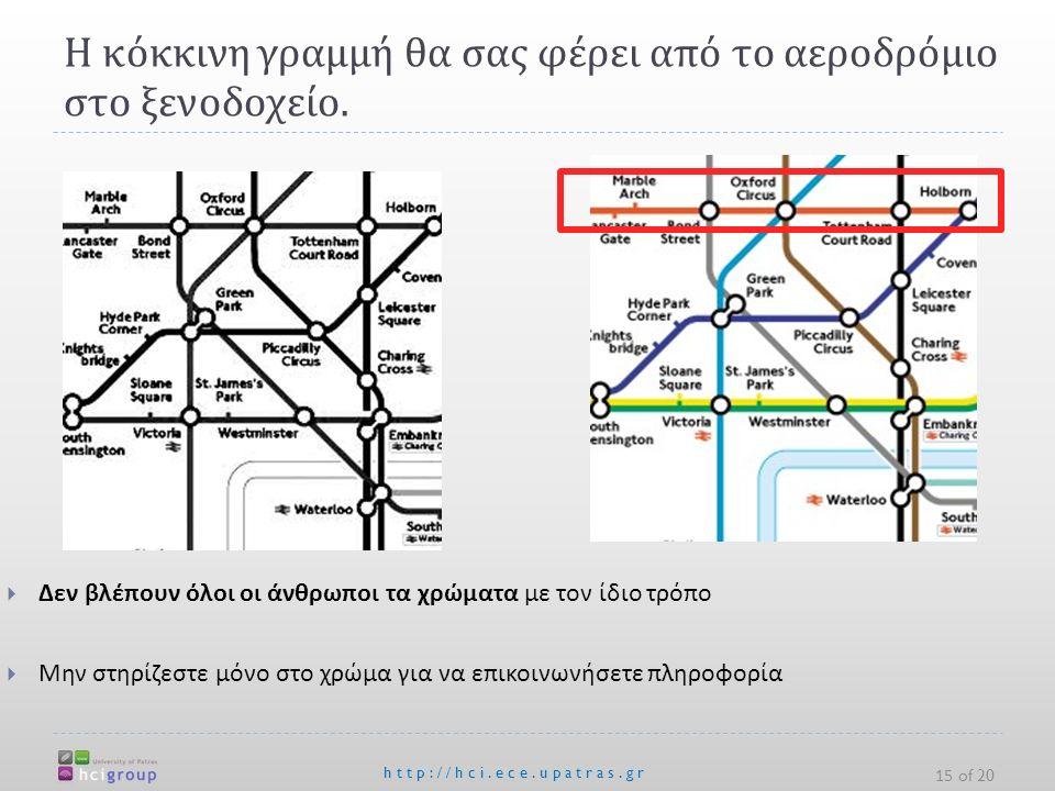 Η κόκκινη γραμμή θα σας φέρει από το αεροδρόμιο στο ξενοδοχείο. http://hci.ece.upatras.gr 15 of 20  Δεν βλέπουν όλοι οι άνθρωποι τα χρώματα με τον ίδ