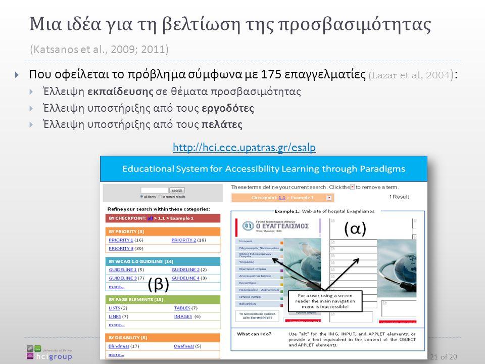 Μια ιδέα για τη βελτίωση της προσβασιμότητας http://hci.ece.upatras.gr  Που οφείλεται το πρόβλημα σύμφωνα με 175 επαγγελματίες (Lazar et al, 2004 ) :  Έλλειψη εκπαίδευσης σε θέματα προσβασιμότητας  Έλλειψη υποστήριξης από τους εργοδότες  Έλλειψη υποστήριξης από τους πελάτες 21 of 20 (Katsanos et al., 2009; 2011) http://hci.ece.upatras.gr/esalp