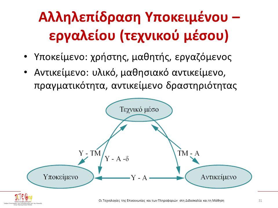 31Οι Τεχνολογίες της Επικοινωνίας και των Πληροφοριών στη Διδασκαλία και τη Μάθηση Αλληλεπίδραση Υποκειμένου – εργαλείου (τεχνικού μέσου) Υποκείμενο: χρήστης, μαθητής, εργαζόμενος Αντικείμενο: υλικό, μαθησιακό αντικείμενο, πραγματικότητα, αντικείμενο δραστηριότητας