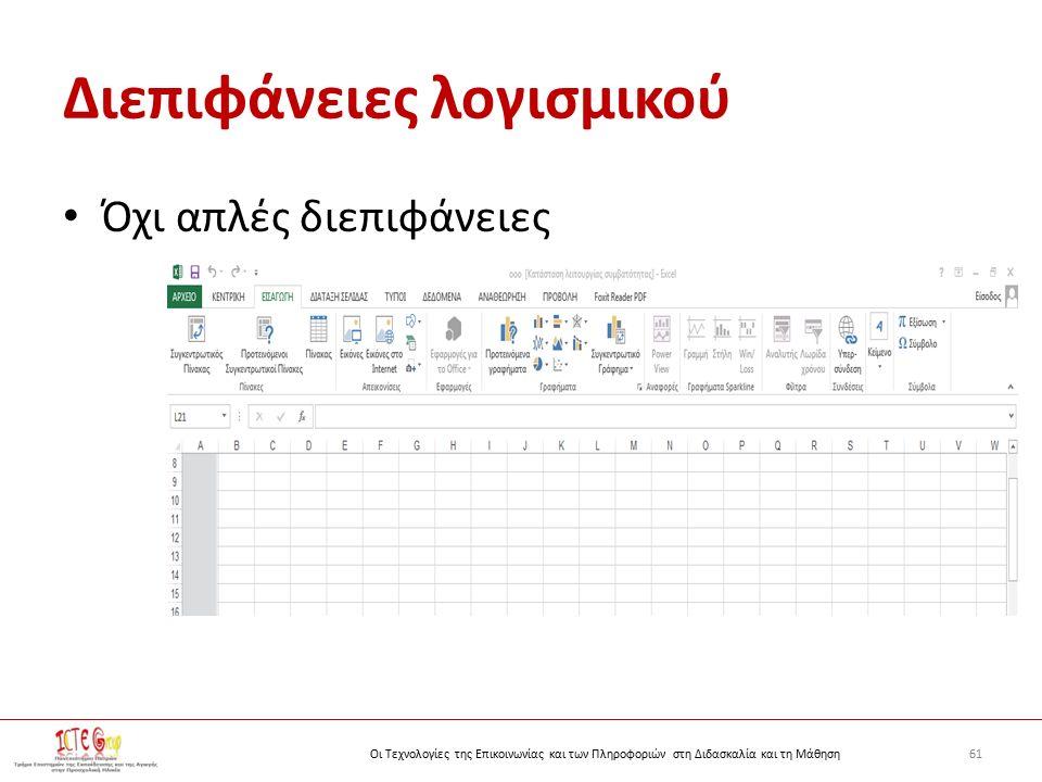61Οι Τεχνολογίες της Επικοινωνίας και των Πληροφοριών στη Διδασκαλία και τη Μάθηση Διεπιφάνειες λογισμικού Όχι απλές διεπιφάνειες