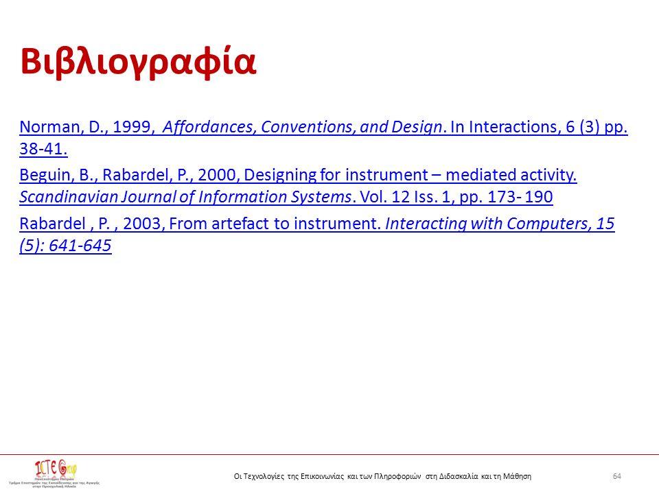 64Οι Τεχνολογίες της Επικοινωνίας και των Πληροφοριών στη Διδασκαλία και τη Μάθηση Βιβλιογραφία Norman, D., 1999, Affordances, Conventions, and Design.