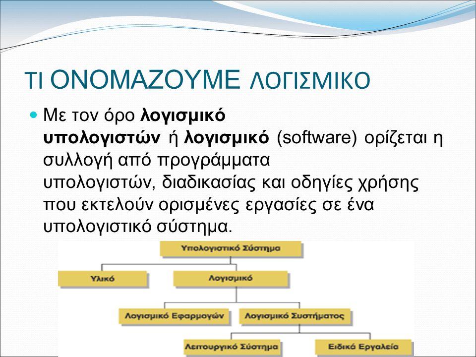 ΤΙ ΟΝΟΜΑΖΟΥΜΕ ΛΟΓΙΣΜΙΚΟ Με τον όρο λογισμικό υπολογιστών ή λογισμικό (software) ορίζεται η συλλογή από προγράμματα υπολογιστών, διαδικασίας και οδηγίες χρήσης που εκτελούν ορισμένες εργασίες σε ένα υπολογιστικό σύστημα.