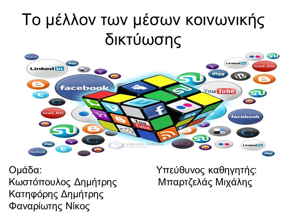 Το μέλλον των μέσων κοινωνικής δικτύωσης Ομάδα: Υπεύθυνος καθηγητής: Κωστόπουλος Δημήτρης Μπαρτζελάς Μιχάλης Κατηφόρης Δημήτρης Φαναρίωτης Νίκος