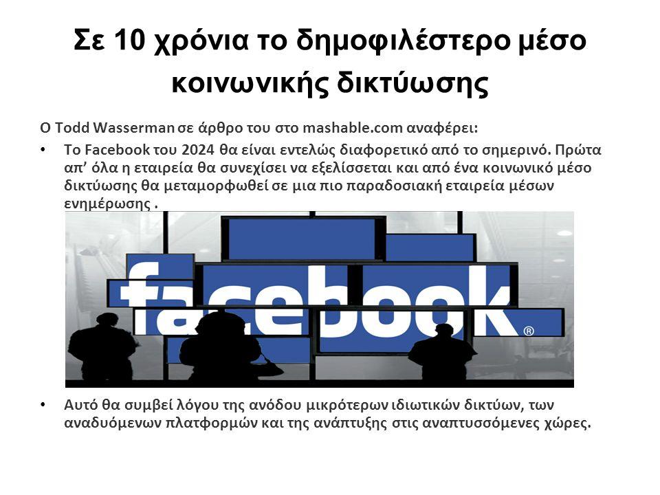 Σε 10 χρόνια το δημοφιλέστερο μέσο κοινωνικής δικτύωσης Ο Todd Wasserman σε άρθρο του στο mashable.com αναφέρει: Το Facebook του 2024 θα είναι εντελώς διαφορετικό από το σημερινό.
