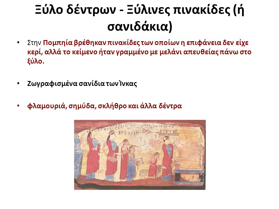 Ξύλο δέντρων - Ξύλινες πινακίδες (ή σανιδάκια) Στην Πομπηία βρέθηκαν πινακίδες των οποίων η επιφάνεια δεν είχε κερί, αλλά το κείμενο ήταν γραμμένο με μελάνι απευθείας πάνω στο ξύλο.