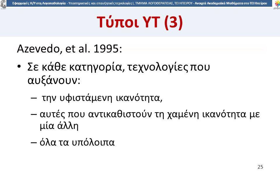 2525 Εφαρμογές Η/Υ στη Λογοπαθολογία - Υποστηρικτικές και επαυξητικές τεχνολογίες Ι, ΤΜΗΜΑ ΛΟΓΟΘΕΡΑΠΕΙΑΣ, ΤΕΙ ΗΠΕΙΡΟΥ - Ανοιχτά Ακαδημαϊκά Μαθήματα στο ΤΕΙ Ηπείρου Τύποι ΥΤ (3) Azevedo, et al.
