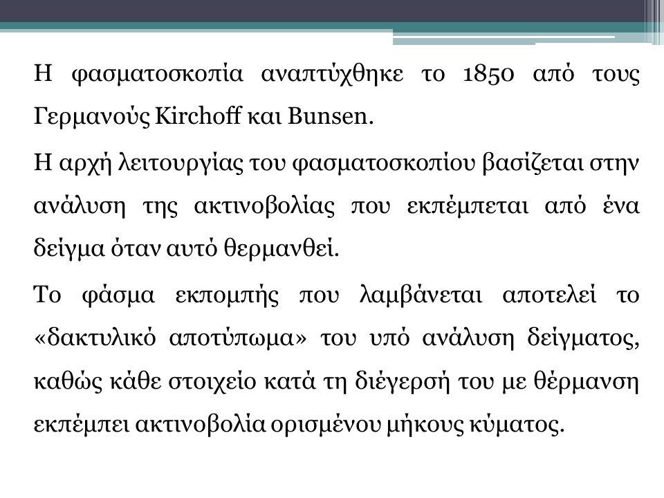 Η φασματοσκοπία αναπτύχθηκε το 1850 από τους Γερμανούς Kirchoff και Bunsen. Η αρχή λειτουργίας του φασματοσκοπίου βασίζεται στην ανάλυση της ακτινοβολ