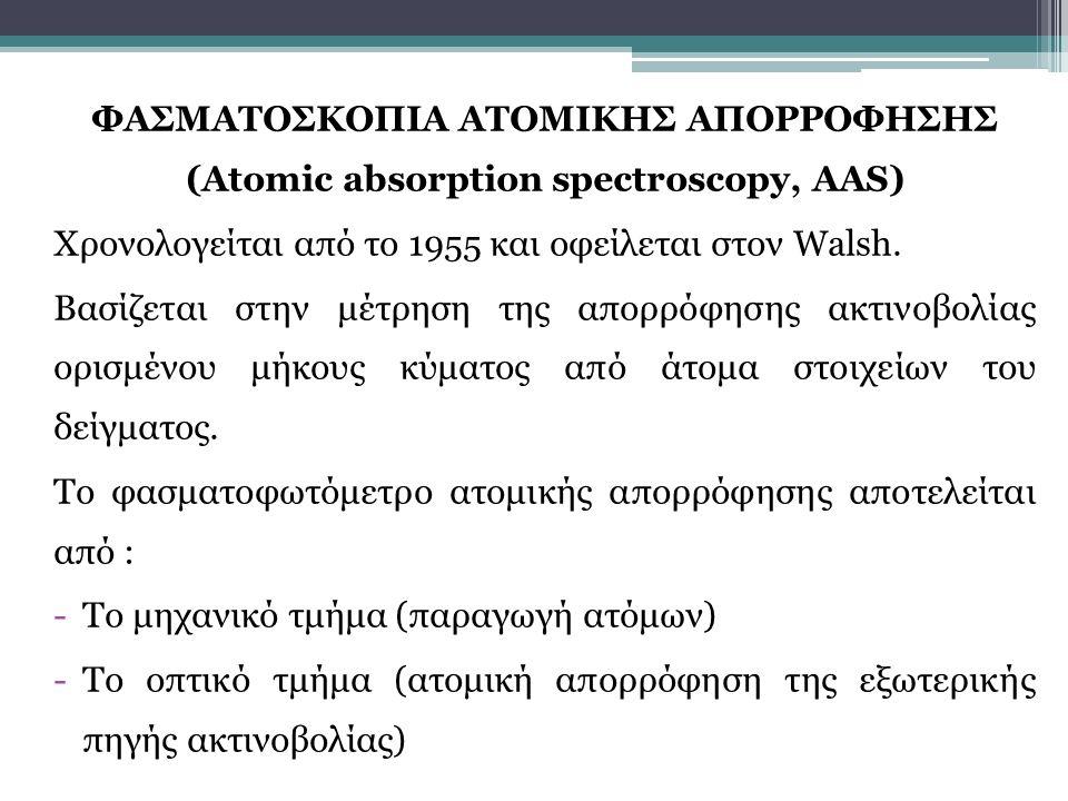 ΦΑΣΜΑΤΟΣΚΟΠΙΑ ΑΤΟΜΙΚΗΣ ΑΠΟΡΡΟΦΗΣΗΣ (Atomic absorption spectroscopy, AAS) Χρονολογείται από το 1955 και οφείλεται στον Walsh. Βασίζεται στην μέτρηση τη