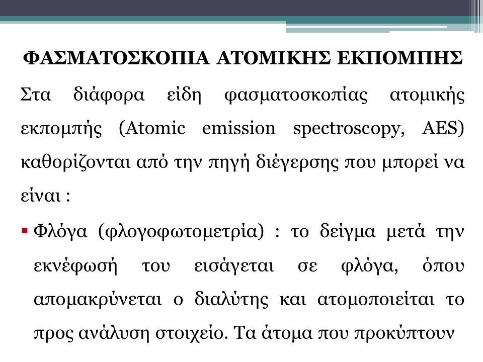 ΦΑΣΜΑΤΟΣΚΟΠΙΑ ΑΤΟΜΙΚΗΣ ΕΚΠΟΜΠΗΣ Στα διάφορα είδη φασματοσκοπίας ατομικής εκπομπής (Atomic emission spectroscopy, AES) καθορίζονται από την πηγή διέγερ