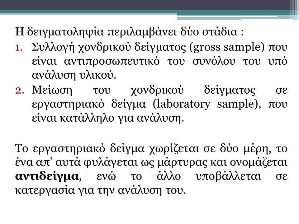Η δειγματοληψία περιλαμβάνει δύο στάδια : 1.Συλλογή χονδρικού δείγματος (gross sample) που είναι αντιπροσωπευτικό του συνόλου του υπό ανάλυση υλικού.