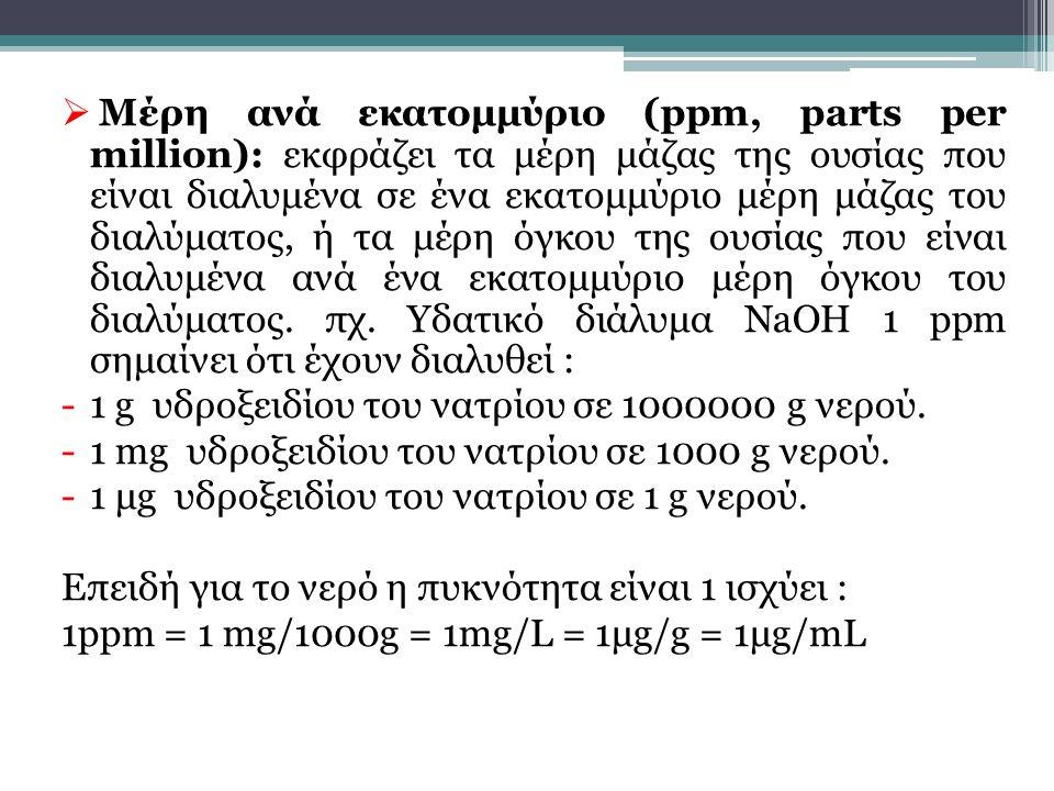  Μέρη ανά εκατομμύριο (ppm, parts per million): εκφράζει τα μέρη μάζας της ουσίας που είναι διαλυμένα σε ένα εκατομμύριο μέρη μάζας του διαλύματος, ή