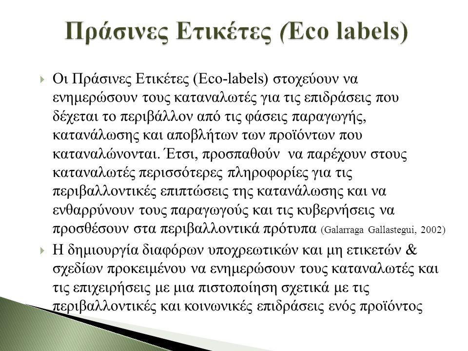  Οι Πράσινες Ετικέτες (Eco-labels) στοχεύουν να ενημερώσουν τους καταναλωτές για τις επιδράσεις που δέχεται το περιβάλλον από τις φάσεις παραγωγής, κατανάλωσης και αποβλήτων των προϊόντων που καταναλώνονται.