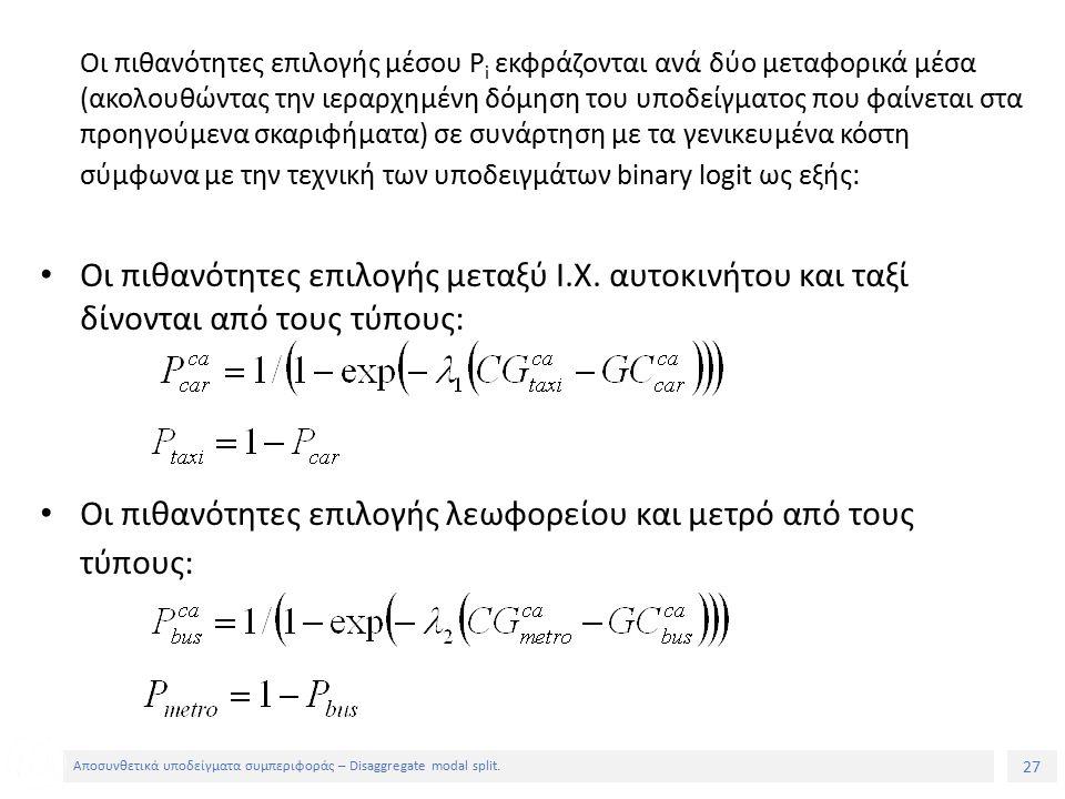 27 Αποσυνθετικά υποδείγματα συμπεριφοράς – Disaggregate modal split.