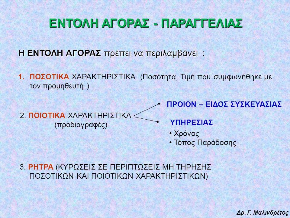 Δρ. Γ. Μαλινδρέτος ΕΝΤΟΛΗ ΑΓΟΡΑΣ - ΠΑΡΑΓΓΕΛΙΑΣ 1.ΠΟΣΟΤΙΚΑ ΧΑΡΑΚΤΗΡΙΣΤΙΚΑ (Ποσότητα, Τιμή που συμφωνήθηκε με τον προμηθευτή ) 2. ΠΟΙΟΤΙΚΑ ΧΑΡΑΚΤΗΡΙΣΤΙΚ
