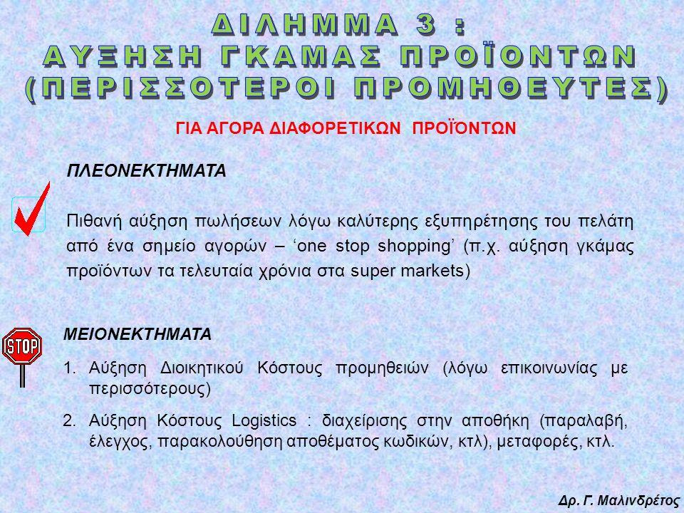 Δρ. Γ. Μαλινδρέτος ΠΛΕΟΝΕΚΤΗΜΑΤΑ Πιθανή αύξηση πωλήσεων λόγω καλύτερης εξυπηρέτησης του πελάτη από ένα σημείο αγορών – 'one stop shopping' (π.χ. αύξησ