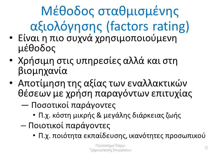 Μέθοδος σταθμισμένης αξιολόγησης (factors rating) Είναι η πιο συχνά χρησιμοποιούμενη μέθοδος Χρήσιμη στις υπηρεσίες αλλά και στη βιομηχανία Αποτίμηση της αξίας των εναλλακτικών θέσεων με χρήση παραγόντων επιτυχίας — Ποσοτικοί παράγοντες Π.χ.