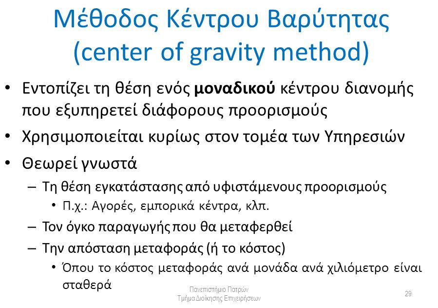 Μέθοδος Κέντρου Βαρύτητας (center of gravity method) Εντοπίζει τη θέση ενός μοναδικού κέντρου διανομής που εξυπηρετεί διάφορους προορισμούς Χρησιμοποιείται κυρίως στον τομέα των Υπηρεσιών Θεωρεί γνωστά – Τη θέση εγκατάστασης από υφιστάμενους προορισμούς Π.χ.: Αγορές, εμπορικά κέντρα, κλπ.