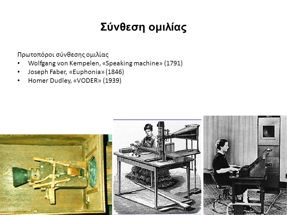 Σύνθεση ομιλίας Πρωτοπόροι σύνθεσης ομιλίας Wolfgang von Kempelen, «Speaking machine» (1791) Joseph Faber, «Euphonia» (1846) Homer Dudley, «VODER» (1939)