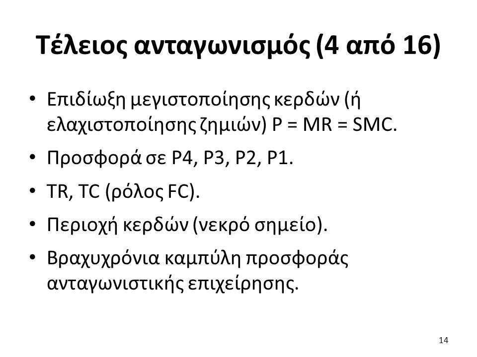Τέλειος ανταγωνισμός (4 από 16) Επιδίωξη μεγιστοποίησης κερδών (ή ελαχιστοποίησης ζημιών) P = MR = SMC. Προσφορά σε Ρ4, Ρ3, Ρ2, Ρ1. TR, TC (ρόλος FC).