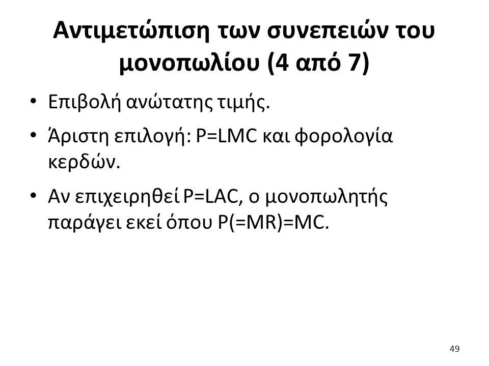 Αντιμετώπιση των συνεπειών του μονοπωλίου (4 από 7) Επιβολή ανώτατης τιμής. Άριστη επιλογή: P=LMC και φορολογία κερδών. Αν επιχειρηθεί P=LAC, ο μονοπω