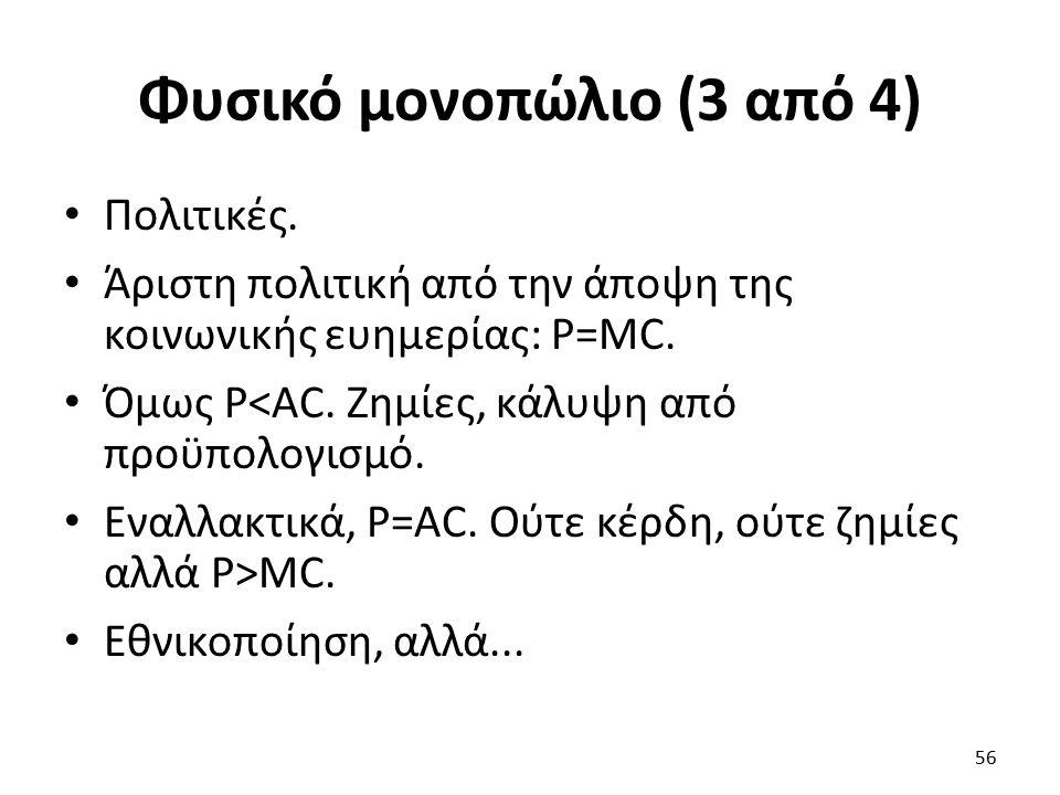Φυσικό μονοπώλιο (3 από 4) Πολιτικές. Άριστη πολιτική από την άποψη της κοινωνικής ευημερίας: P=MC. Όμως P<AC. Ζημίες, κάλυψη από προϋπολογισμό. Εναλλ