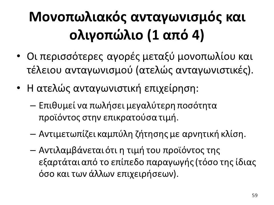 Μονοπωλιακός ανταγωνισμός και ολιγοπώλιο (1 από 4) Οι περισσότερες αγορές μεταξύ μονοπωλίου και τέλειου ανταγωνισμού (ατελώς ανταγωνιστικές).