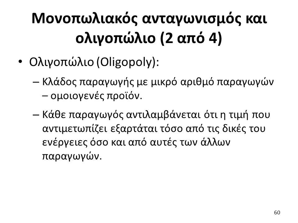 Μονοπωλιακός ανταγωνισμός και ολιγοπώλιο (2 από 4) Ολιγοπώλιο (Oligopoly): – Κλάδος παραγωγής με μικρό αριθμό παραγωγών – ομοιογενές προϊόν. – Κάθε πα