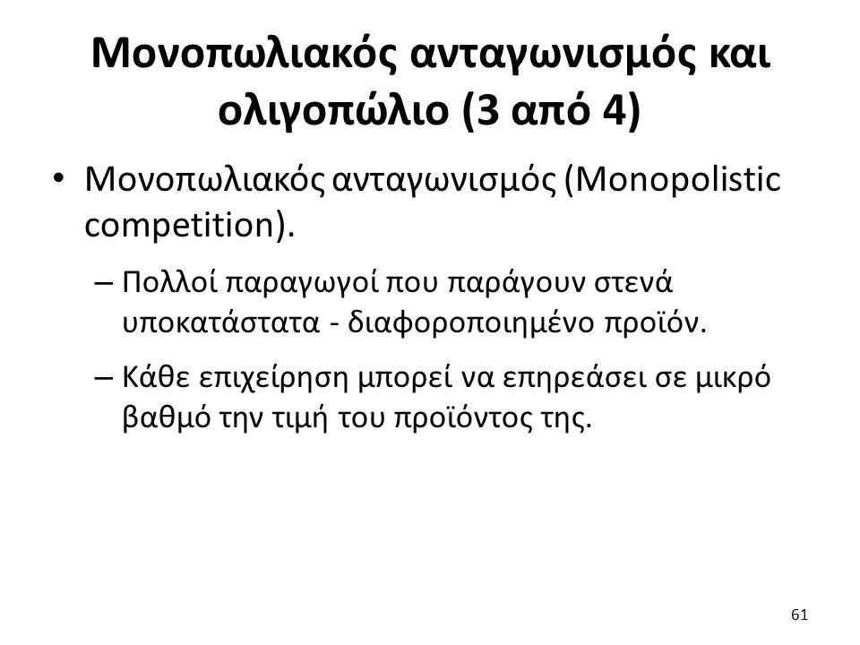 Μονοπωλιακός ανταγωνισμός και ολιγοπώλιο (3 από 4) Μονοπωλιακός ανταγωνισμός (Monopolistic competition). – Πολλοί παραγωγοί που παράγουν στενά υποκατά