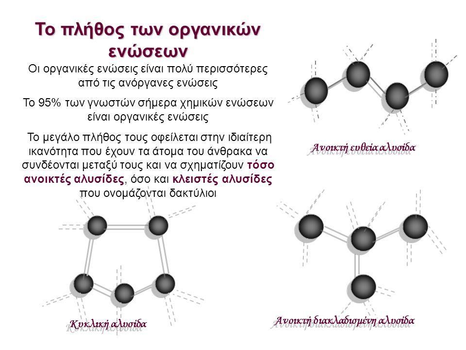 Το πλήθος των οργανικών ενώσεων Οι οργανικές ενώσεις είναι πολύ περισσότερες από τις ανόργανες ενώσεις Το 95% των γνωστών σήμερα χημικών ενώσεων είναι οργανικές ενώσεις Το μεγάλο πλήθος τους οφείλεται στην ιδιαίτερη ικανότητα που έχουν τα άτομα του άνθρακα να συνδέονται μεταξύ τους και να σχηματίζουν τόσο ανοικτές αλυσίδες, όσο και κλειστές αλυσίδες που ονομάζονται δακτύλιοι Ανοικτή ευθεία αλυσίδα Ανοικτή διακλαδισμένη αλυσίδα Κυκλική αλυσίδα