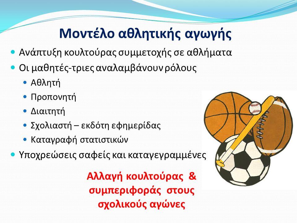 Ανάπτυξη κουλτούρας συμμετοχής σε αθλήματα Οι μαθητές-τριες αναλαμβάνουν ρόλους Αθλητή Προπονητή Διαιτητή Σχολιαστή – εκδότη εφημερίδας Καταγραφή στατιστικών Υποχρεώσεις σαφείς και καταγεγραμμένες Μοντέλο αθλητικής αγωγής Αλλαγή κουλτούρας & συμπεριφοράς στους σχολικούς αγώνες