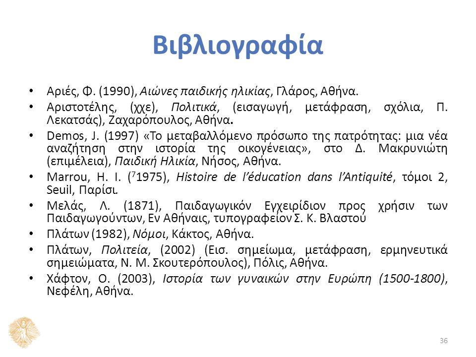 Βιβλιογραφία Αριές, Φ. (1990), Αιώνες παιδικής ηλικίας, Γλάρος, Αθήνα.