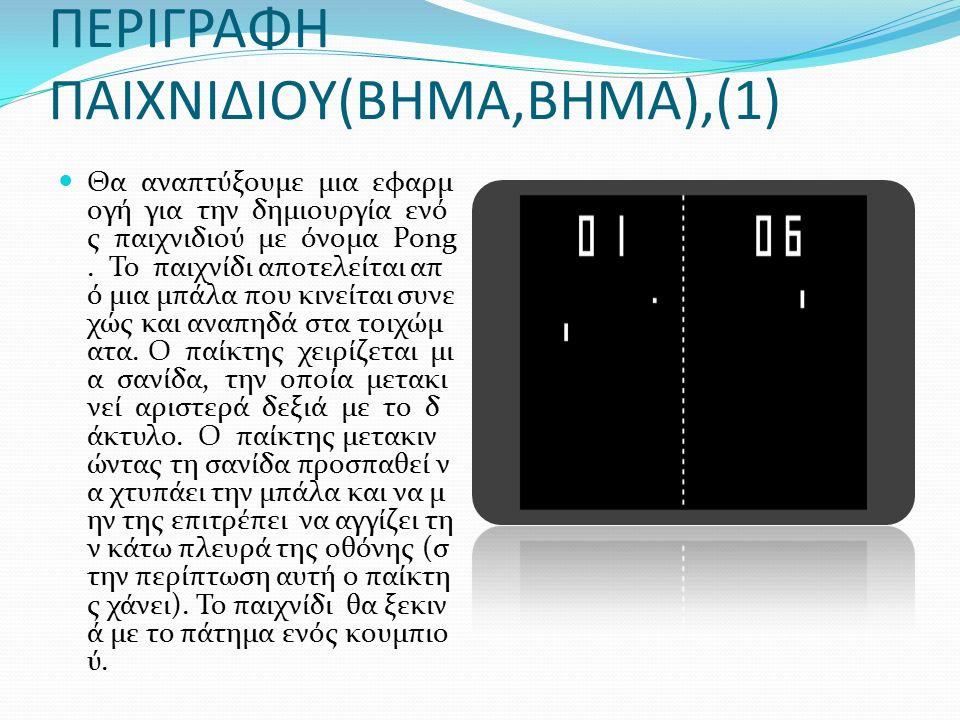 ΠΕΡΙΓΡΑΦΗ ΠΑΙΧΝΙΔΙΟΥ(ΒΗΜΑ,ΒΗΜΑ),(1) Θα αναπτύξουμε μια εφαρμ ογή για την δημιουργία ενό ς παιχνιδιού με όνομα Pong.