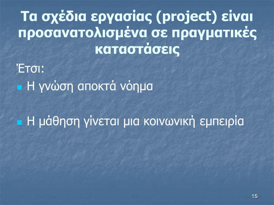 15 Τα σχέδια εργασίας (project) είναι προσανατολισμένα σε πραγματικές καταστάσεις Έτσι: Η γνώση αποκτά νόημα Η μάθηση γίνεται μια κοινωνική εμπειρία