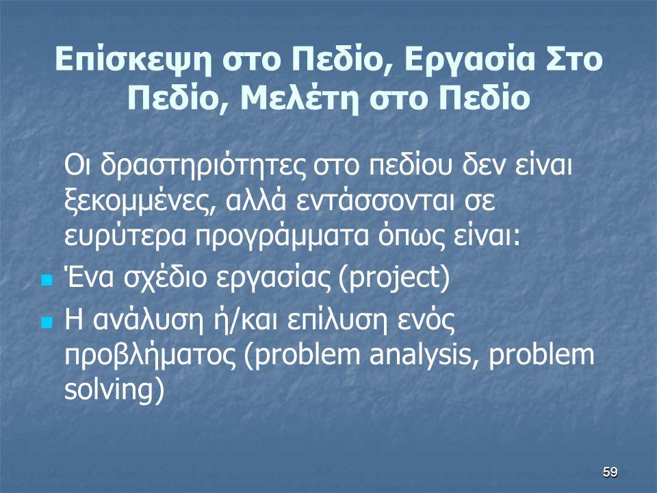59 Επίσκεψη στο Πεδίο, Εργασία Στο Πεδίο, Μελέτη στο Πεδίο Οι δραστηριότητες στο πεδίου δεν είναι ξεκομμένες, αλλά εντάσσονται σε ευρύτερα προγράμματα όπως είναι: Ένα σχέδιο εργασίας (project) Η ανάλυση ή/και επίλυση ενός προβλήματος (problem analysis, problem solving)