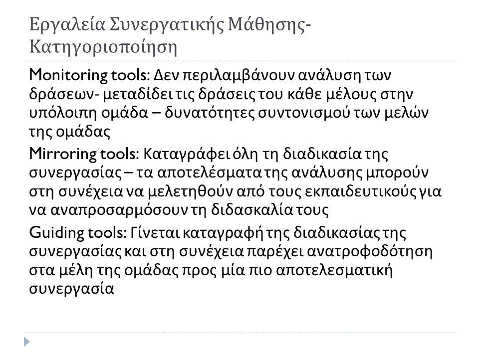 Εργαλεία Συνεργατικής Μάθησης - Κατηγοριοποίηση Monitoring tools: Δεν περιλαμβάνουν ανάλυση των δράσεων - μεταδίδει τις δράσεις του κάθε μέλους στην υ