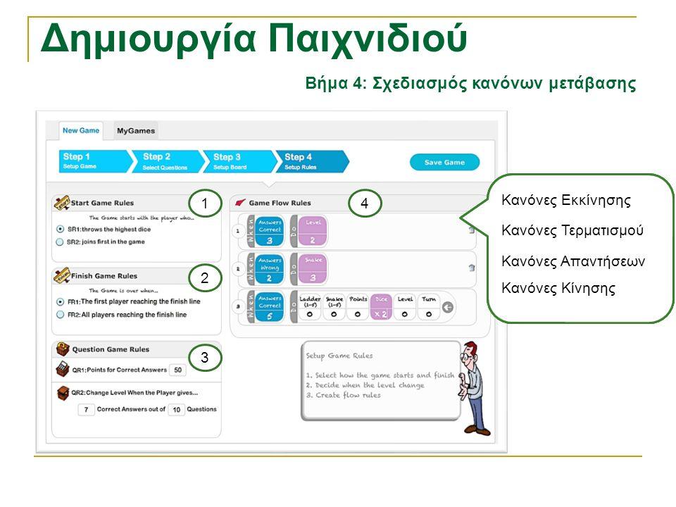 Δημιουργία Παιχνιδιού Βήμα 4: Σχεδιασμός κανόνων μετάβασης Κανόνες Εκκίνησης Κανόνες Τερματισμού Κανόνες Απαντήσεων Κανόνες Κίνησης 2 1 3 4 Κανόνες Εκ