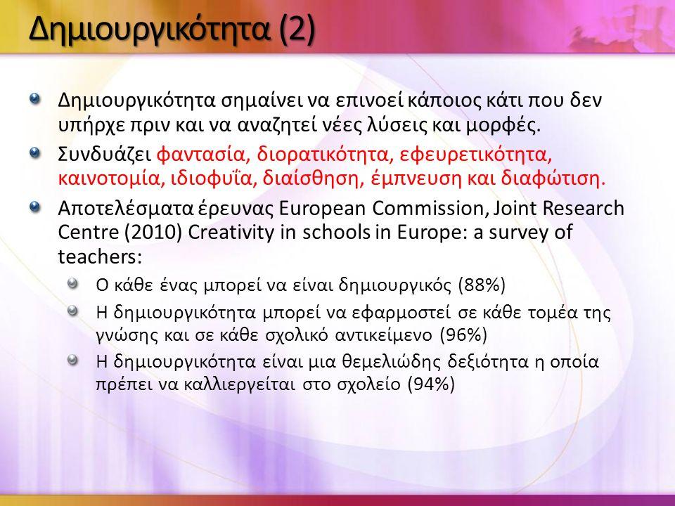 Δημιουργικότητα σημαίνει να επινοεί κάποιος κάτι που δεν υπήρχε πριν και να αναζητεί νέες λύσεις και μορφές.