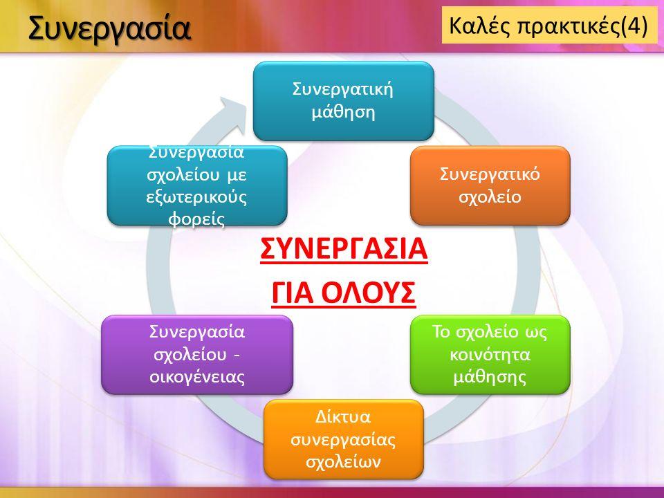 Συνεργασία Συνεργατική μάθηση Συνεργατικό σχολείο Το σχολείο ως κοινότητα μάθησης Δίκτυα συνεργασίας σχολείων Συνεργασία σχολείου - οικογένειας Συνεργασία σχολείου με εξωτερικούς φορείς ΣΥΝΕΡΓΑΣΙΑ ΓΙΑ ΟΛΟΥΣ Καλές πρακτικές(4)