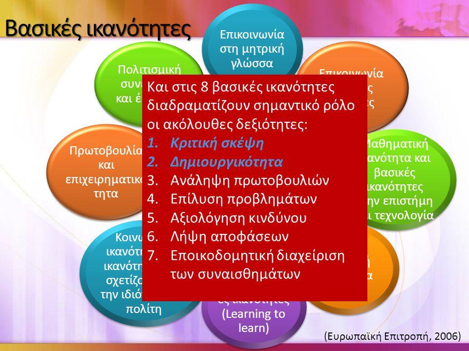 Βασικές ικανότητες Και στις 8 βασικές ικανότητες διαδραματίζουν σημαντικό ρόλο οι ακόλουθες δεξιότητες: 1.Κριτική σκέψη 2.Δημιουργικότητα 3.Ανάληψη πρωτοβουλιών 4.Επίλυση προβλημάτων 5.Αξιολόγηση κινδύνου 6.Λήψη αποφάσεων 7.Εποικοδομητική διαχείριση των συναισθημάτων (Ευρωπαϊκή Επιτροπή, 2006)