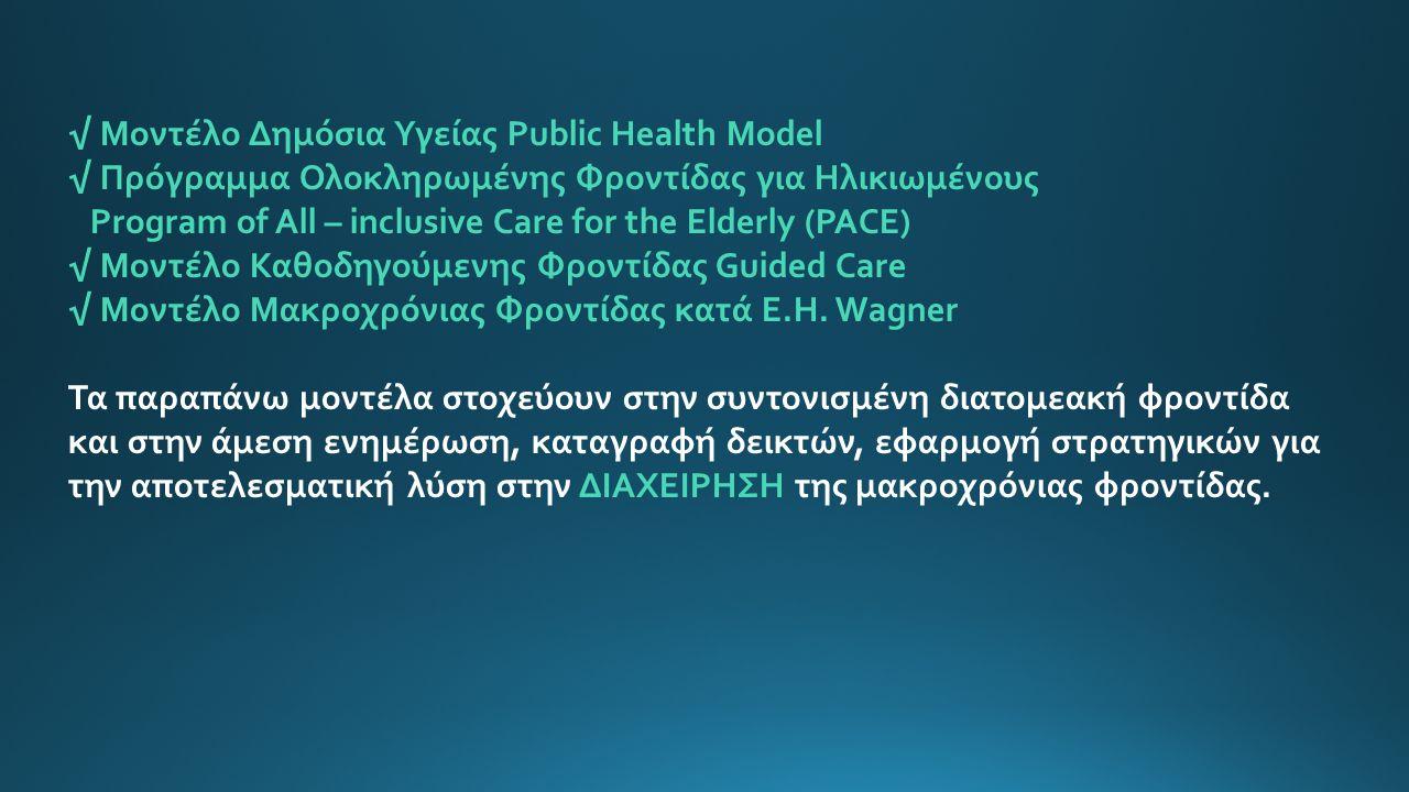 √ Μοντέλο Δημόσια Υγείας Public Health Model √ Πρόγραμμα Ολοκληρωμένης Φροντίδας για Ηλικιωμένους Program of All – inclusive Care for the Elderly (PACE) √ Μοντέλο Καθοδηγούμενης Φροντίδας Guided Care √ Μοντέλο Μακροχρόνιας Φροντίδας κατά E.H.