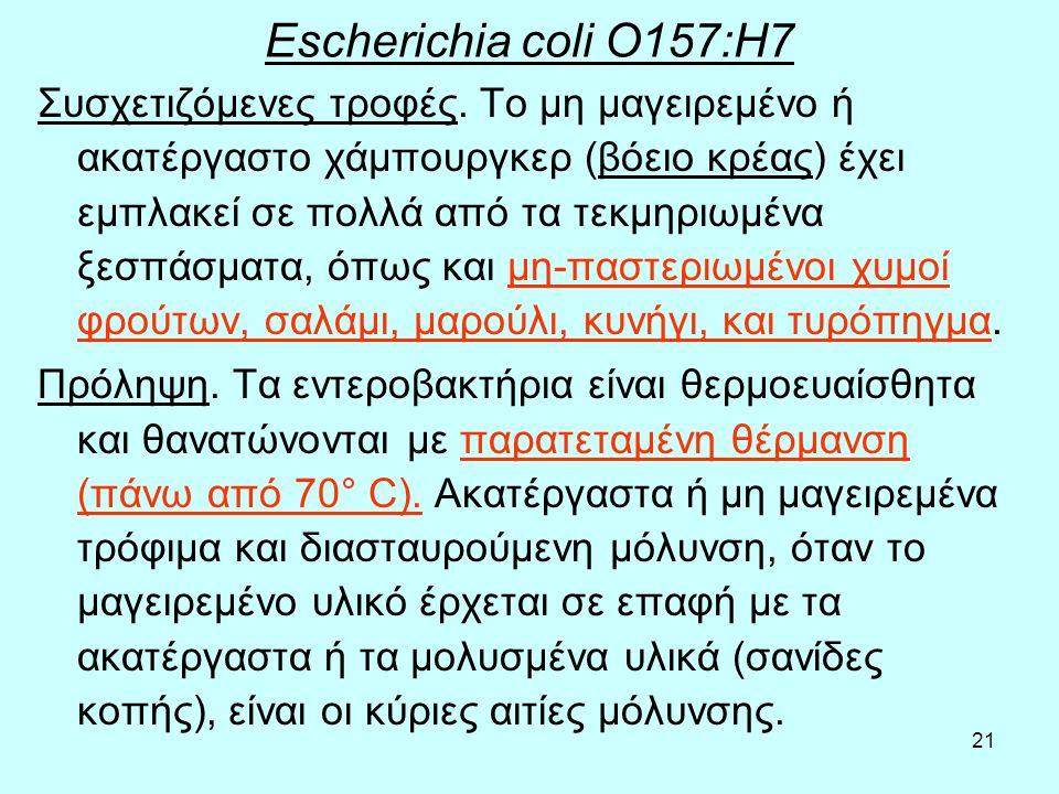 21 Escherichia coli O157:H7 Συσχετιζόμενες τροφές. Το μη μαγειρεμένο ή ακατέργαστο χάμπουργκερ (βόειο κρέας) έχει εμπλακεί σε πολλά από τα τεκμηριωμέν